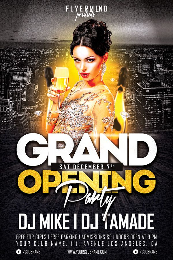 Grand Opening Party Free Club Psd Flyer Template Design Poster