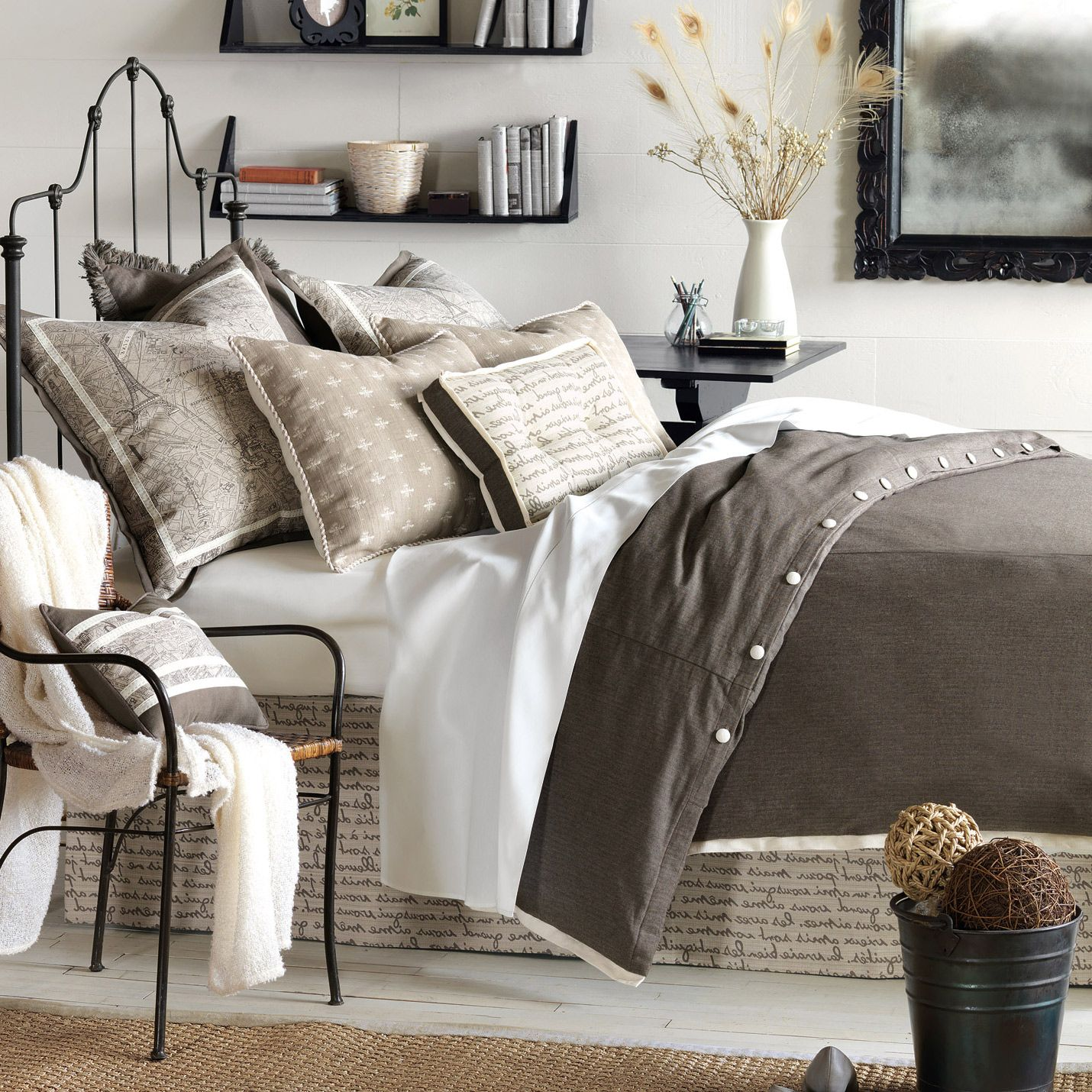 Daphne bedsetmaster bedroom?   Comes in flint Charcoal or Trompe Mocha  Interesting curtain panels to complete ensemble.