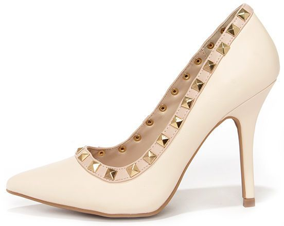 Pyramid Scene Stone Studded Pointed Pumps
