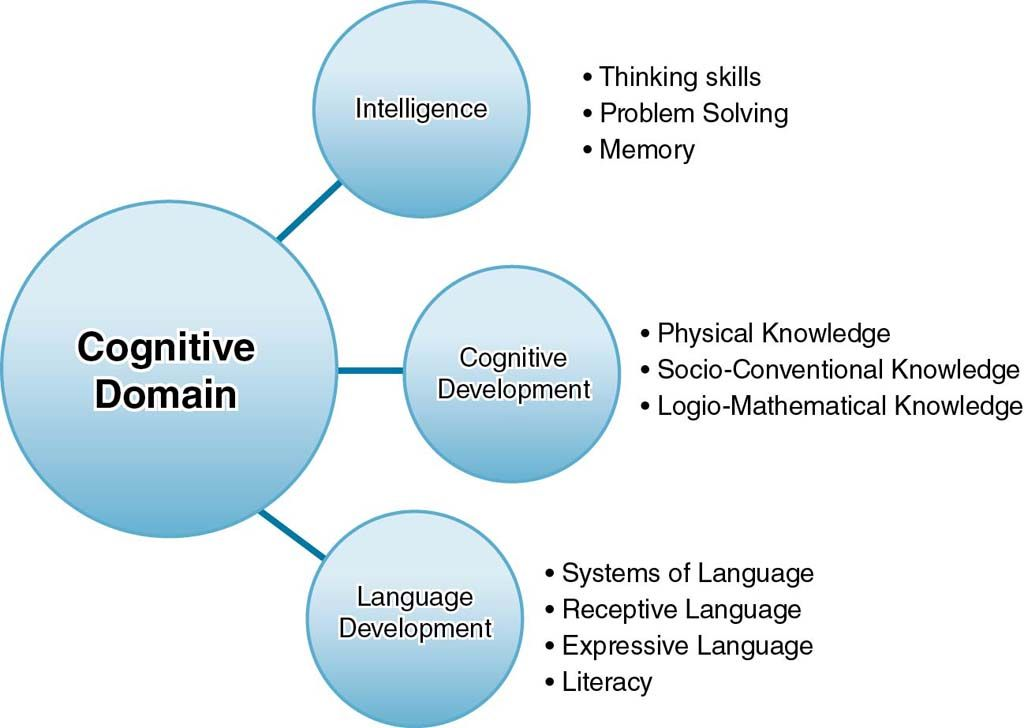 Figure showing cognitive domain made up of (1) intelligence, (2