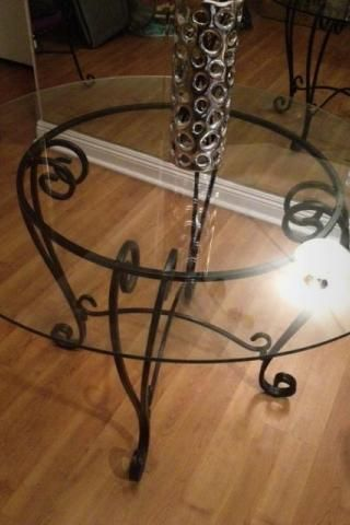 Beau Black Wrought Iron Table And Chair Sets | PIER 1 WROUGHT IRON/GLASS TOP  KITCHEN TABLE SET For Sale In Los .