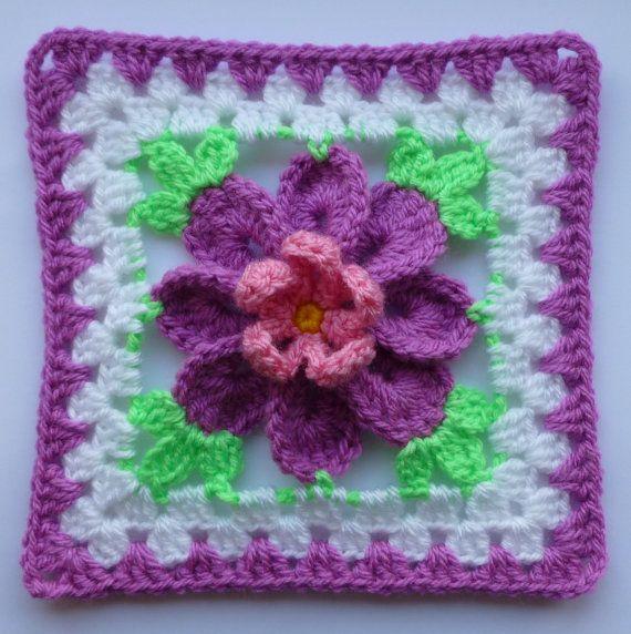 Instant Download Crochet Pdf Pattern Flower In Granny Square 3