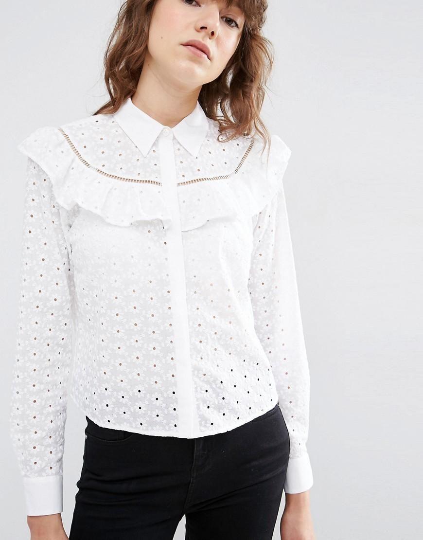e7e350a0948edd ASOS | ASOS Broderie Shirt With Ruffle Detail at ASOS | blouse ...