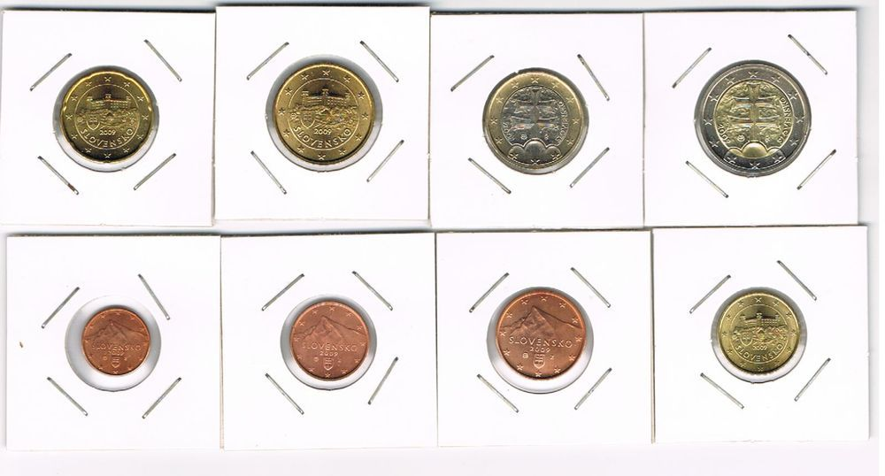 SLOVAKIA COMPLETE EURO SET 8 COINS  2009 (1 cent - 2 Euro) UNC from Rolls