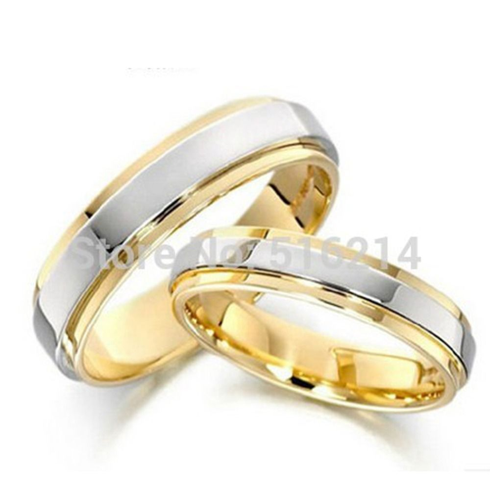 soul men 1 pair solid titanium wedding ring set two tone gold with silver color 4mm - Simple Wedding Ring Sets