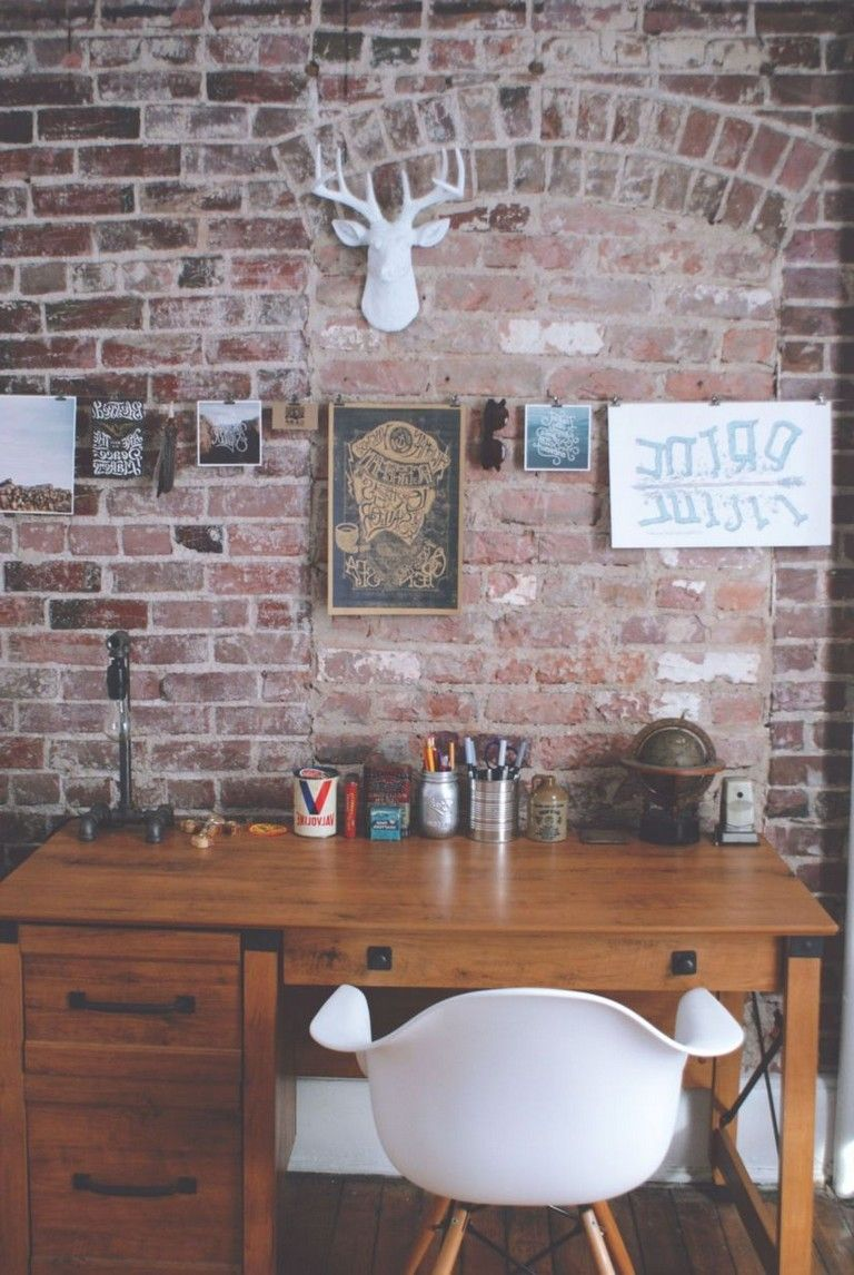 35 Relaxation Chic Home Office Designs With Brick Walls Rustic