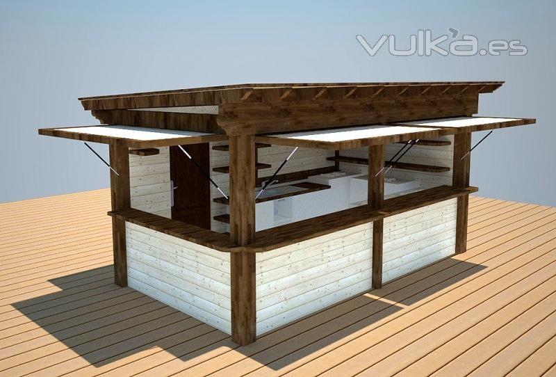 Kiosco de madera l m arquitectos pinterest paredes for Kioscos prefabricados de madera