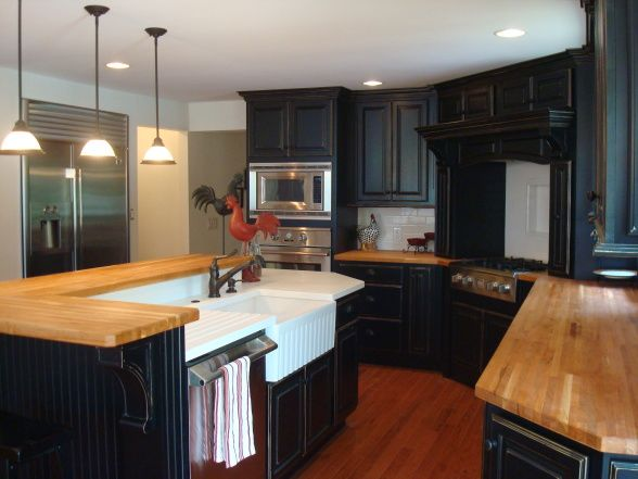 Black Cabinets With Butcher Block Countertops