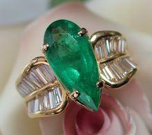PIERCING High-End Vintage 3.65ct Emerald & Diamond Ring