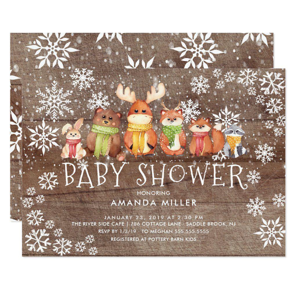 Rustic Snowflake Woodland Animals Baby Shower Invitation