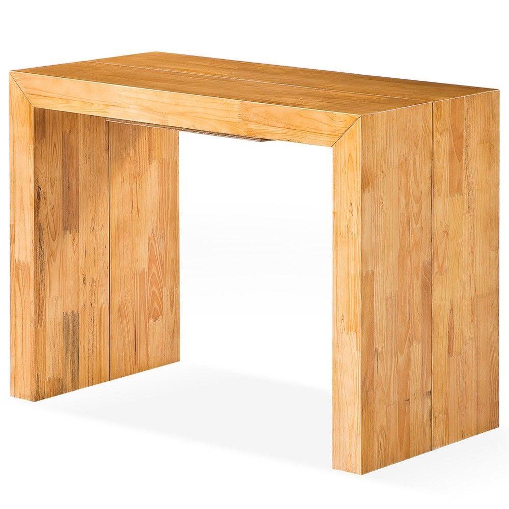 Table console extensible en bois massif for Table ikea bois massif