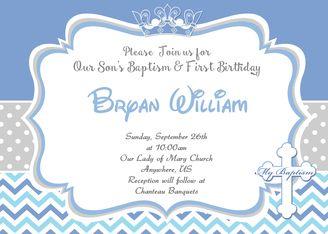 King 1st birthday baptism christening invitation baptism king 1st birthday baptism christening invitation stopboris Images
