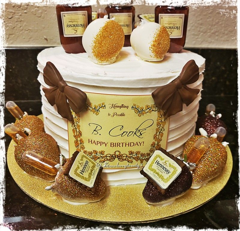 Hennessy infused vanilla bean cake with matching bling