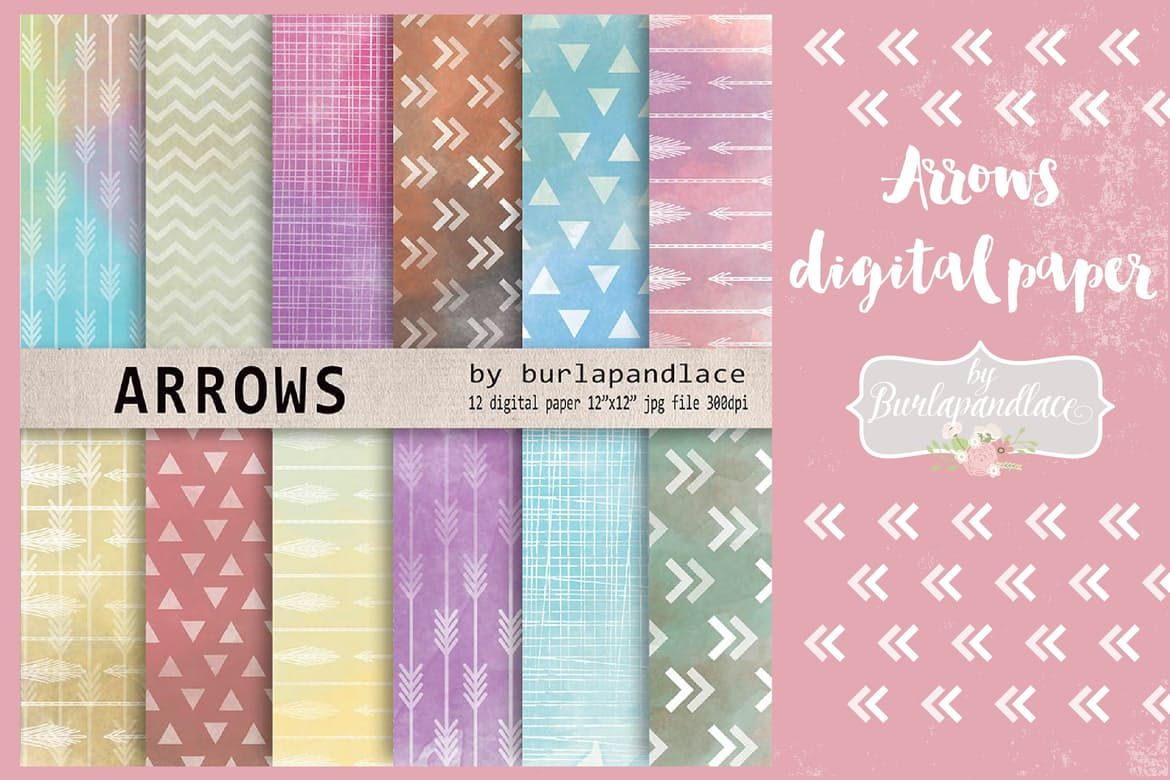 Arrows Watercolor Digital Paper Pack By Burlapandlace On Envato