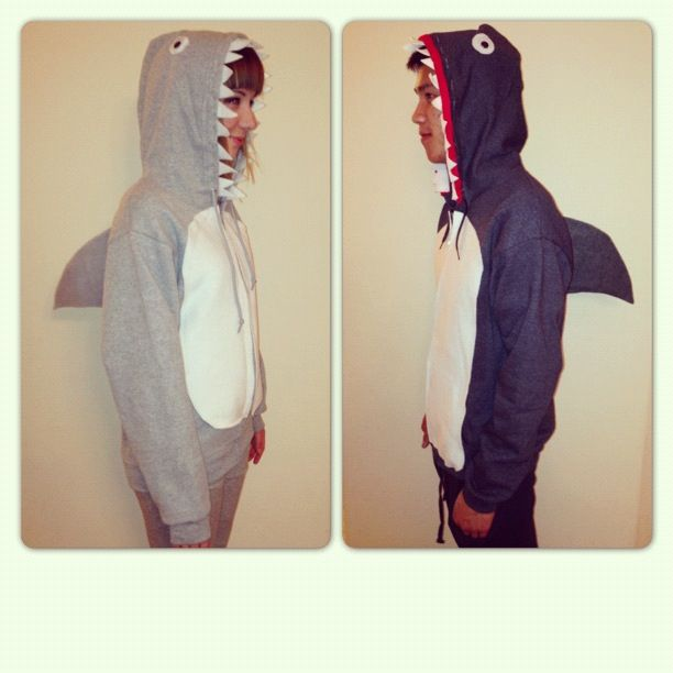 Halloween costumes, DIY, sharks, halloween, October, sweatshirts
