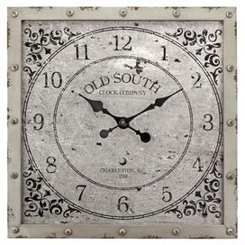"""Vintage-inspired wall clock with rivet details and scrolling designs.   Product: Wall clockConstruction Material: MDF and metalColor: Rustic grayAccommodates: Batteries - not includedDimensions: 20"""" H x 20"""" W x 1.5"""" D"""