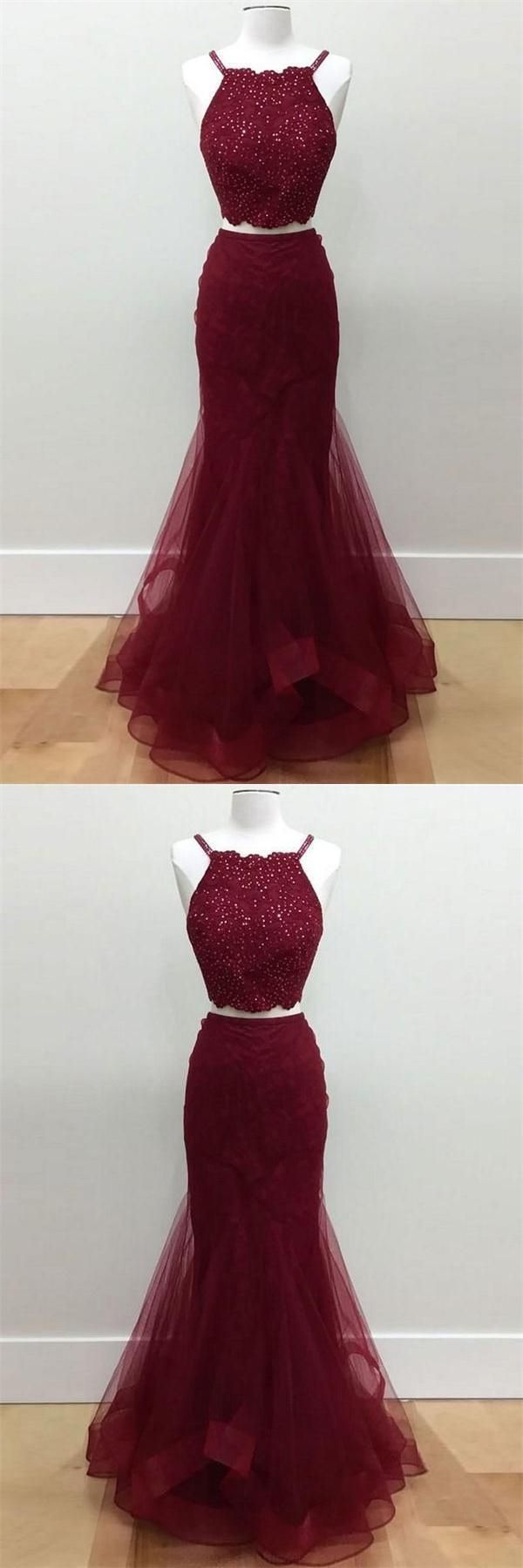Two pieces prom dresses prom dresses cheap mermaid prom dresses