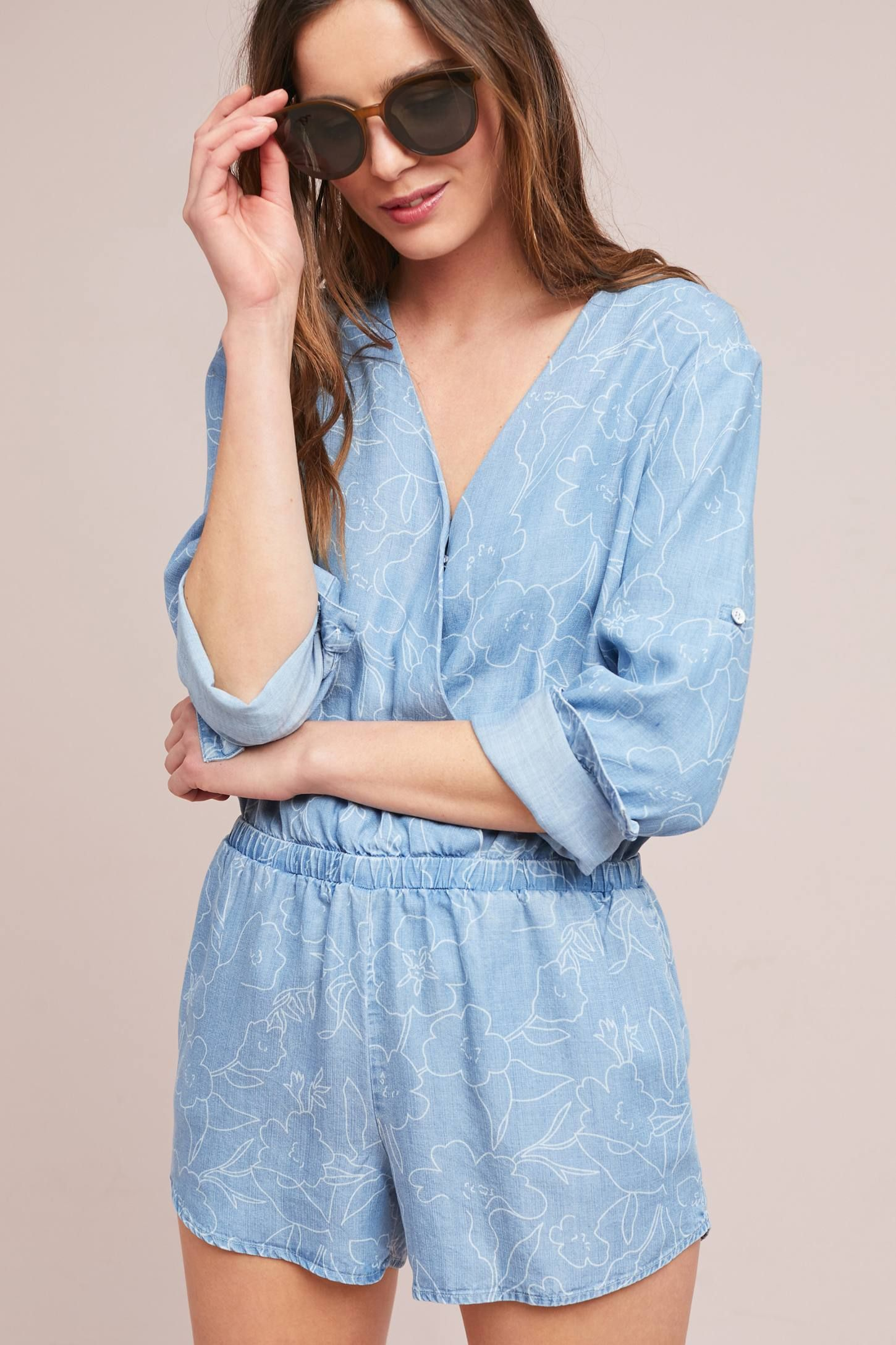 919755d947e6 Shop the Cloth   Stone Chambray Romper and more Anthropologie at  Anthropologie today. Read customer reviews