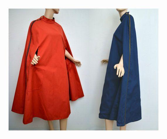 Vintage 60er Jahre Mod Cape Mantel rot und von VintageDevotion, $195.00