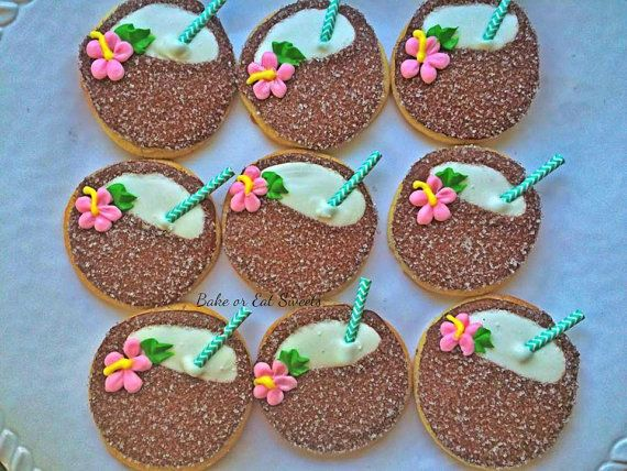 Coconut Drink Cookies by BakeorEatSweets on Etsy