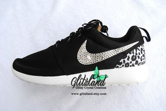 e050db4ab61 Swarovski Nike Black Roshe Run w  Cheetah Print Heel blinged with SWAROVSKI®  Crystals