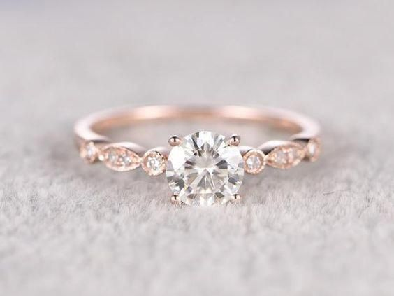 Floral Solitaire 14k White Gold Moissanite Engagement Ring