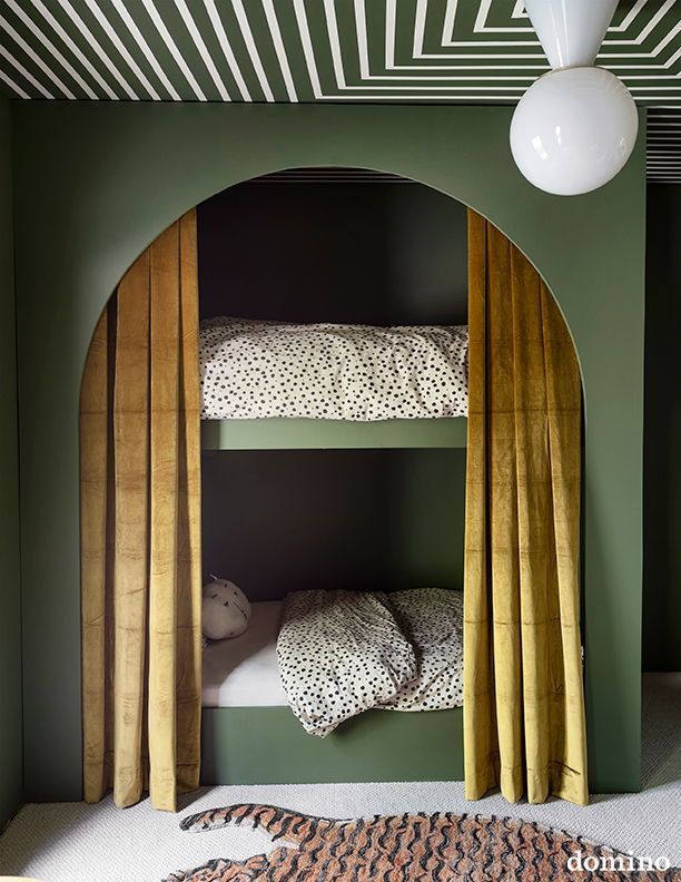 Photo of In Sarah Sherman Samuel's renovated home – DIY green bunk beds // Children's room …