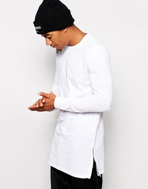 dde90121 Must have this ASOS Super Longline Long Sleeve T-Shirt With Side Zips NOW!  It would look great under a short jacket or vest.