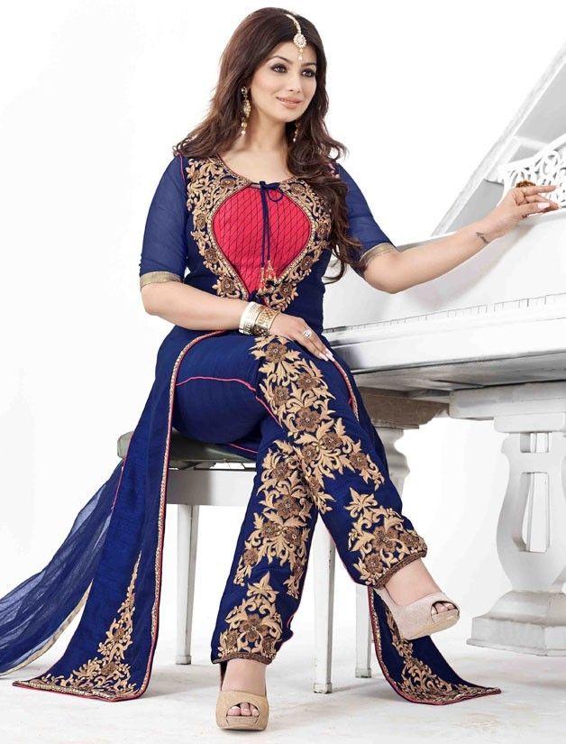 6b040a15558 Ayesha Takia Navy Blue Trouser Kameez Set