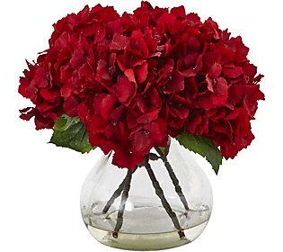9 Red Hydrangea Silk Arrangement W Vase By Nearly Natural Qvc Com Red Hydrangea Flower Vase Arrangements Red Flower Arrangements
