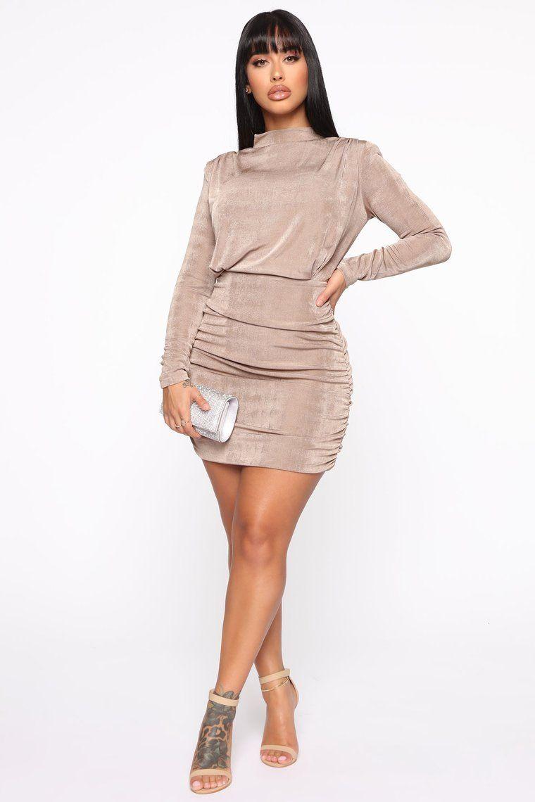 Once Again Ruched Mini Dress Mocha in 2020 Fashion