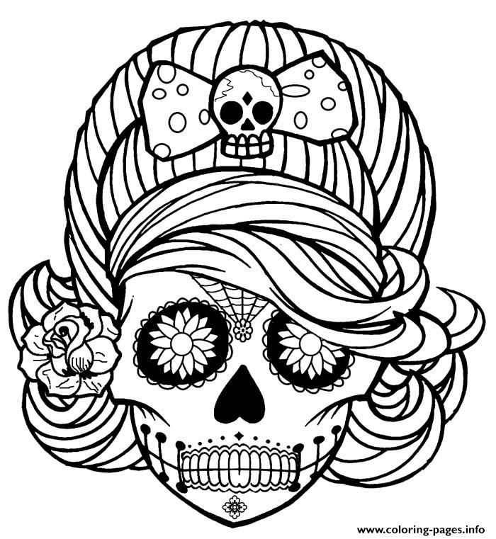Print Girl Skull cute adult coloring pages Coloring Pages