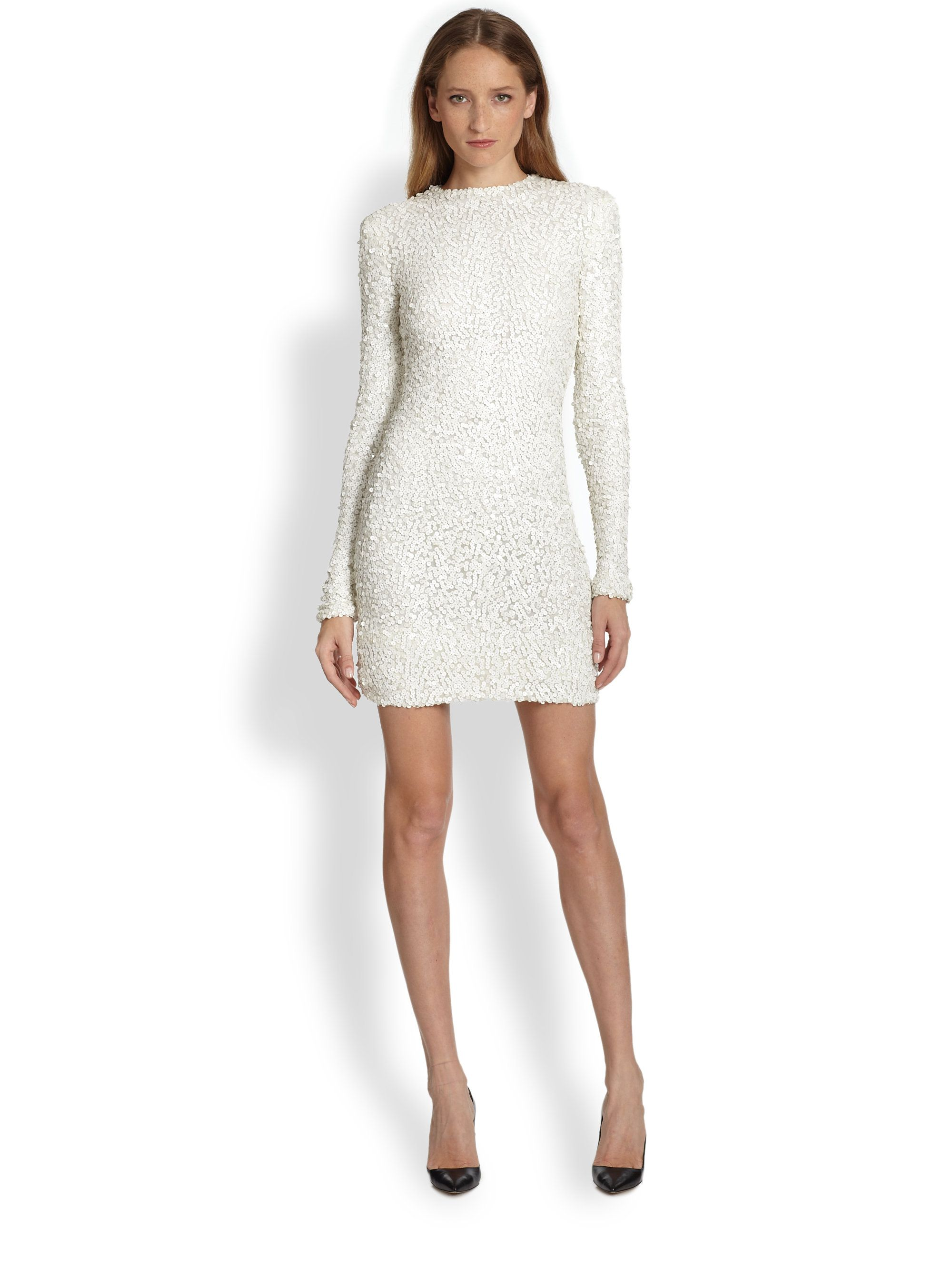 Rachel Zoe White Adrienne Leathersequin Sheath Dress Elegant Dresses Short White Leather Dress Sequin Dress [ 2667 x 2000 Pixel ]