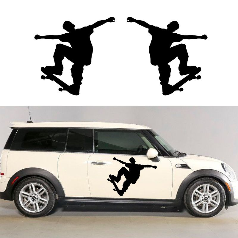 X 2 x skate boarder one for each side car sticker for cars side truck window auto door vinyl decal 8 colors