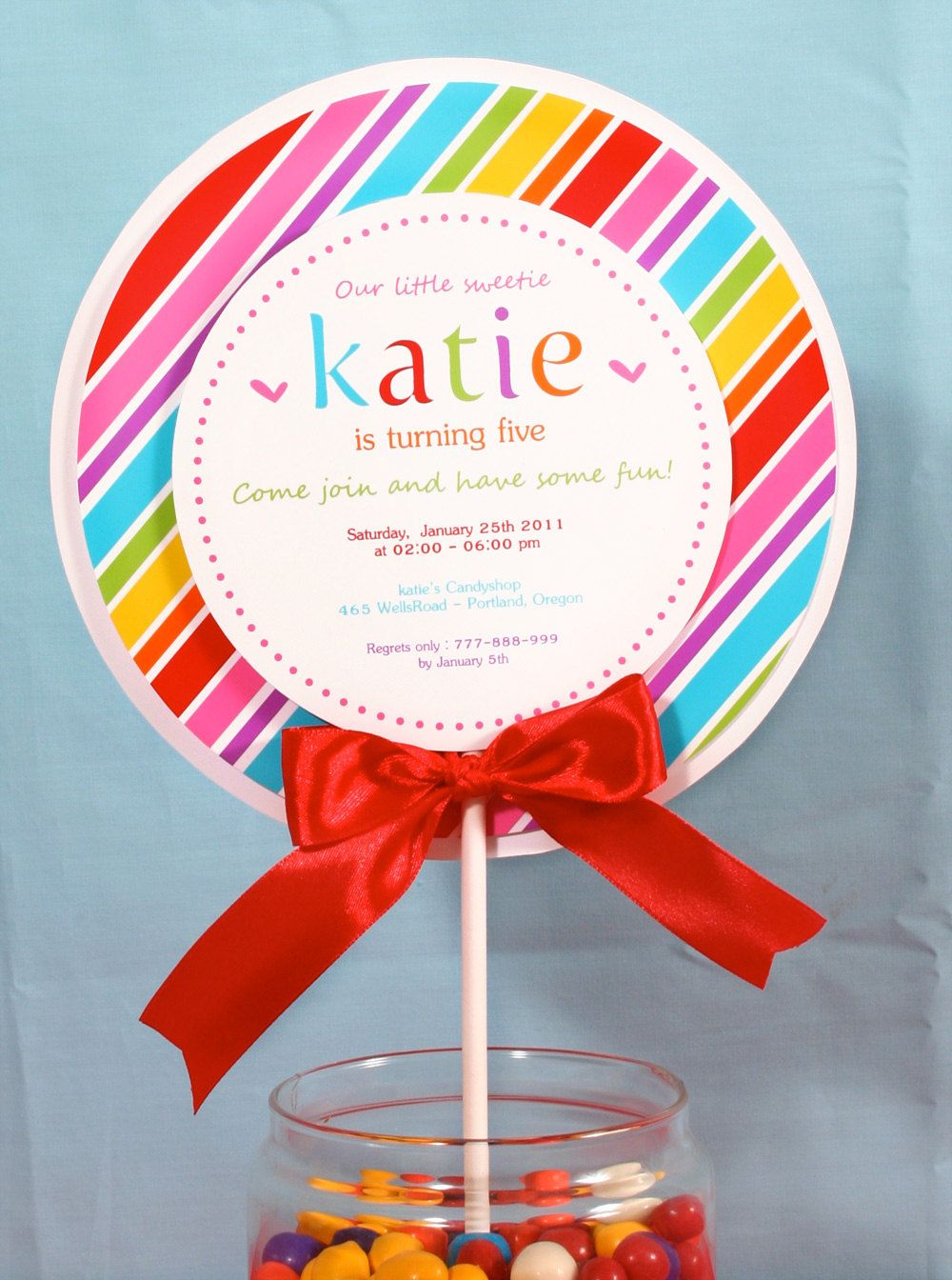 PRINTABLE Invitation DIY - Sweet Lollipop Birthday Party Invitation ...