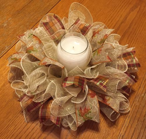 Handmade Fall Autumn Deco Mesh Centerpiece Candle Holder Tan