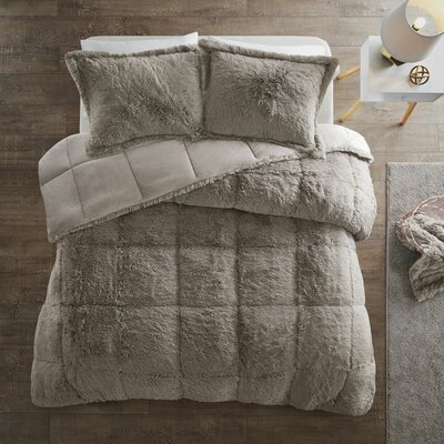 Grey Twin//Twin XL Intelligent Design Malea 2 Piece Comforter Shaggy Faux Fur Solid Plush Double Sided Box Design Modern Casual All Season Quilt Bedding Set with Matching Sham