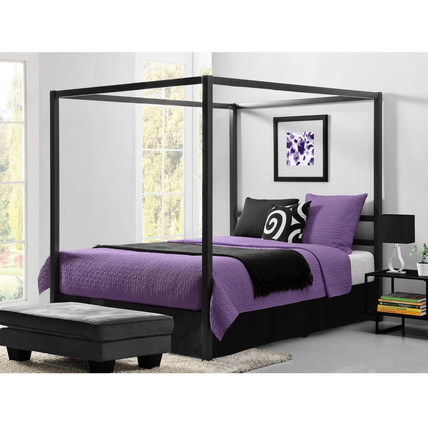 Queen Size Modern Canopy Bed in Sturdy Grey Metal Queen