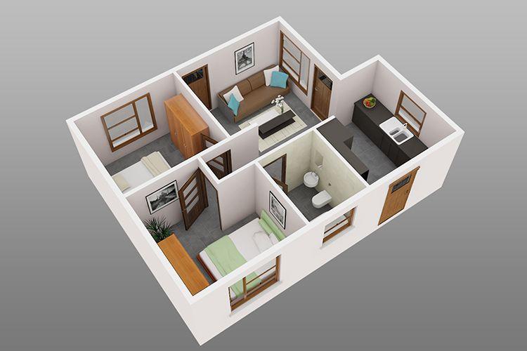 Plantas de casas com 2 quartos com cozinha americana 3d 5 · plans de maison