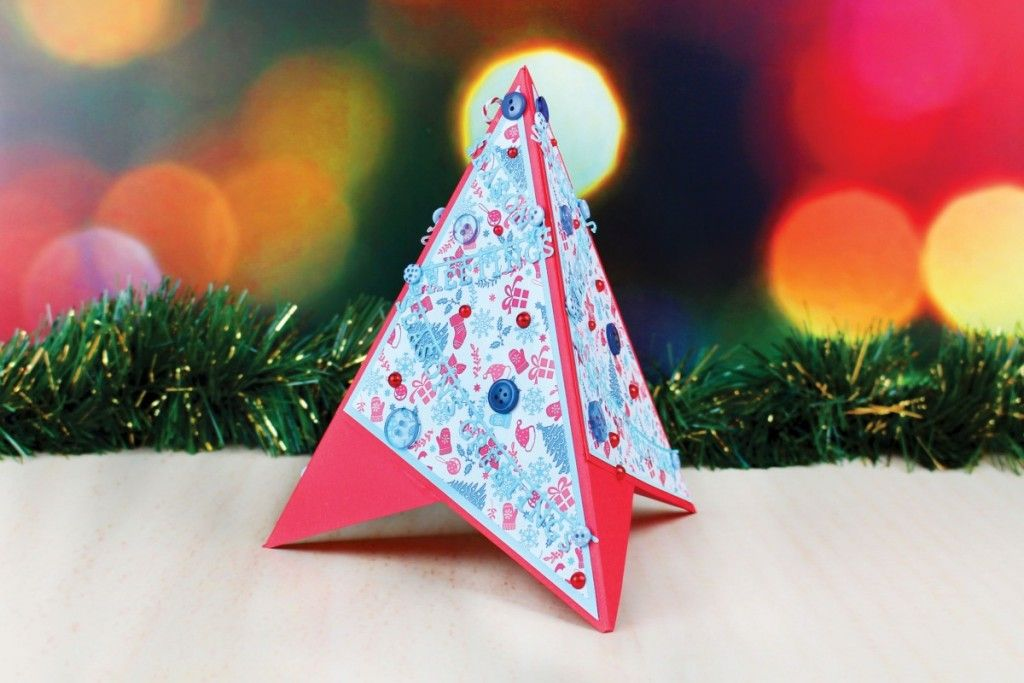 Lovely Paper Craft Christmas Card Ideas Part - 4: Die Cut Christmas Tree Pyramid Card