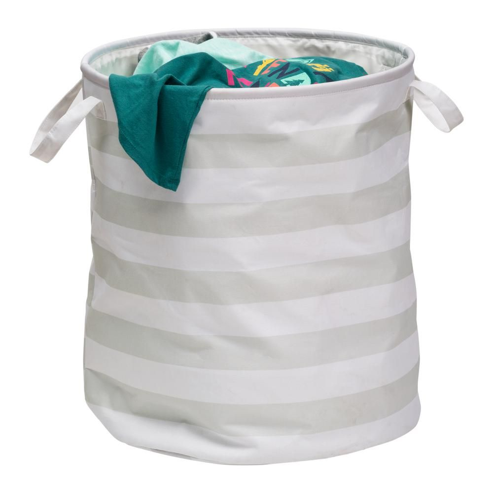 Honey Can Do Grey Stripped Collapsible Laundry Hamper With Handles