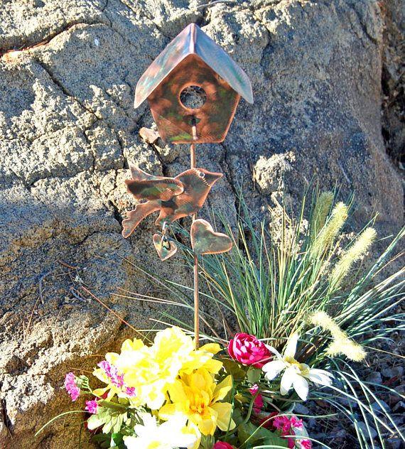Bird House Garden Stake Yard Art Metal Garden Art Copper * Etsy