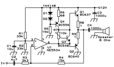 Simple audio amplifiers with discrete BJT outputs