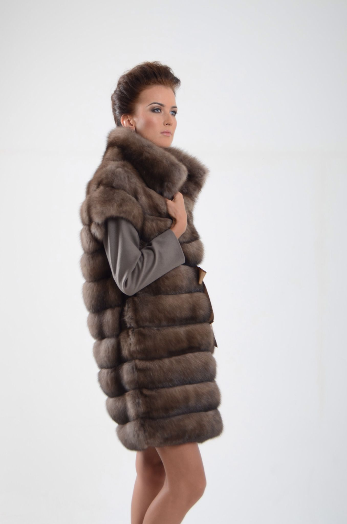 Tortora Sable Fur Coat with Cashmere Sleeves