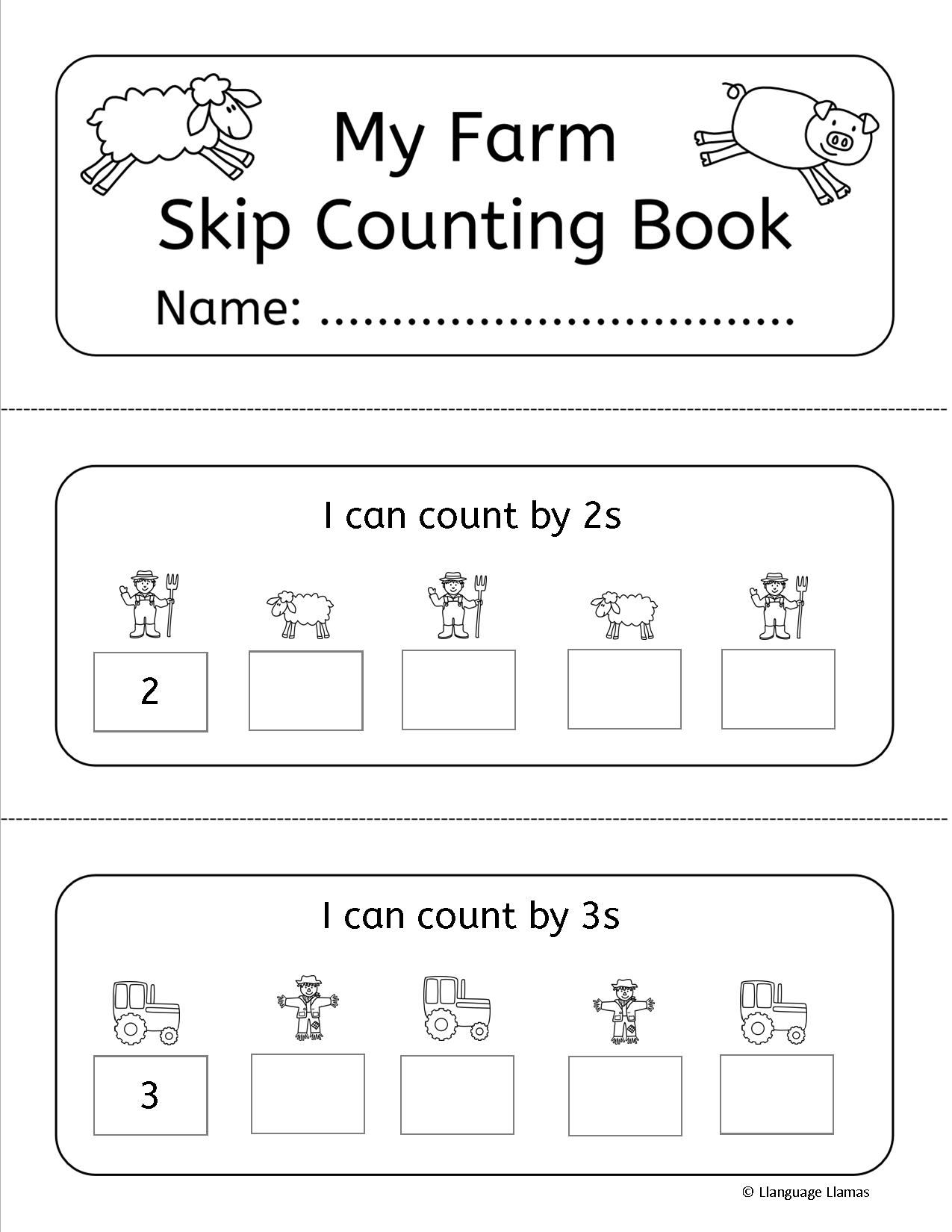 Skip Counting By 2s 3s 5s And 10s 41 Skip Counting Worksheets Task Cards Individual Booklet And Activity Farm Math Farm Math Activities Elementary Math [ 1650 x 1275 Pixel ]
