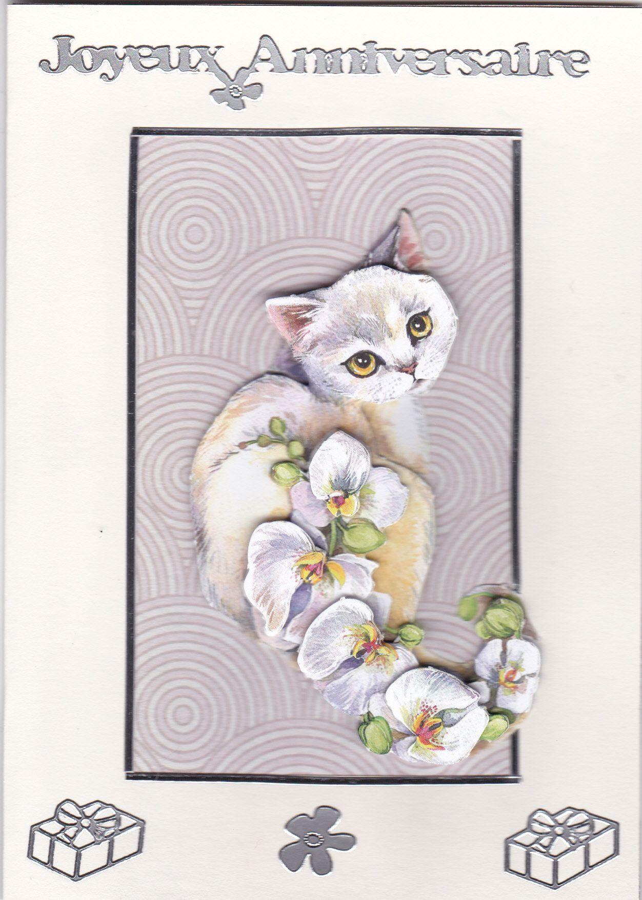 joyeux anniversaire le chat aux orchid es taille de 10. Black Bedroom Furniture Sets. Home Design Ideas