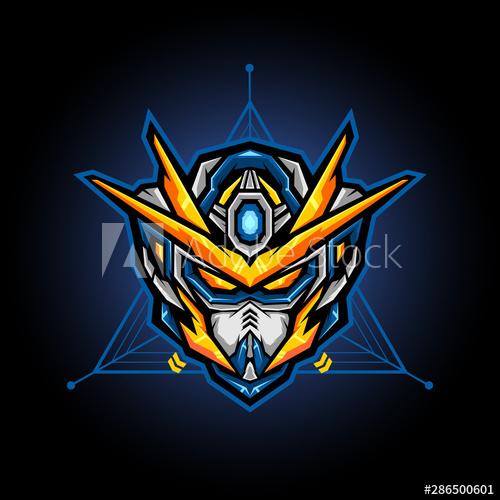 Robot Head Vector For E Sports Logo Or Gaming Mascot Robot Head For T Shirt Printing Apparel Or Badge Buy This Stock Vector And Expl Logo Keren Gambar Lucu