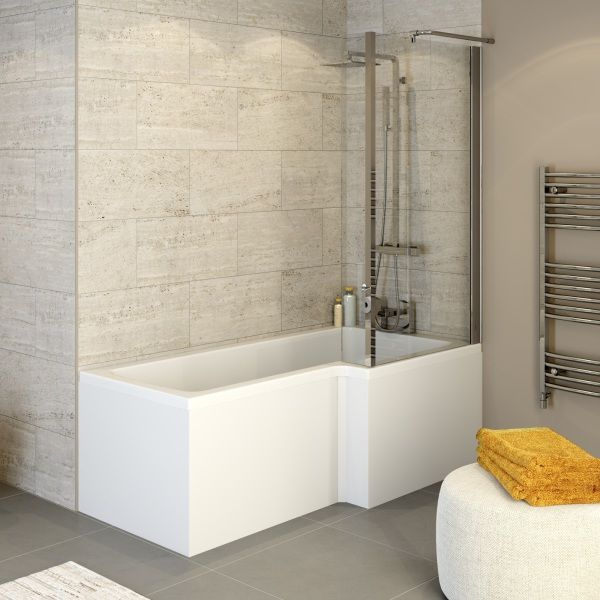 Ceramica L Shaped Shower Bath Screen Panel