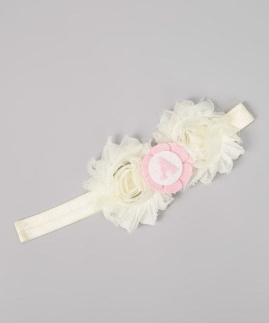 Take a look at this Ivory & Pink Initial Shabby Rose Large Headband by Charlotte Rose Couture on #zulily today!