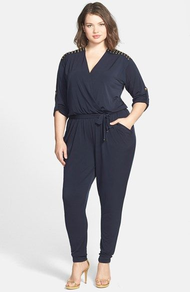 2d2634863a1 Free shipping and returns on MICHAEL Michael Kors Studded Shoulder Roll  Sleeve Jumpsuit (Plus Size) at Nordstrom.com. Matte-black studs march over  the ...